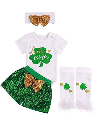 SWNONE Newborn Baby Girl St.Patrick's Day Skirt Outfit Clothes Romper+ Tutu Bowknot Skirt and Headband 4Pcs (St.Patrick's Short Outfit, 0-3 Months) -