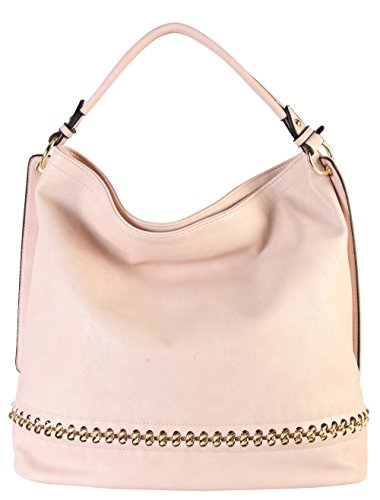 Patent Leather Large Hobo (Rimen & Co. PU Leather Hobo Large Purse Bag Women Woman Handbag Accented Metal Chain on the Bottom WY-2671 (PInk))