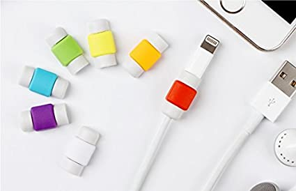 mStick iPhone Cable Protector & Saver for Apple iPhone iPad Lightning USB Data Charging Cable 1 Pair (2 Pieces) For Both The Ends Of 2 Cables (Random Color)