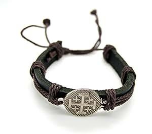 Amazon.com: Catholic & Religious Jerusalem Cross Leather ...