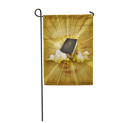 Semtomn Garden Flag 28x40 Inches Print On Two Side Polyester Christian Old Holy Heaven Home Yard Farm Fade Resistant Outdoor House Decor Flag