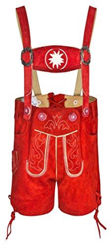 Kinder und Baby Trachtenlederhose - Kurz mit abnehmbaren Hosenträgern - rot und braun - Trachten Lederhose Original FROHSINN für Jungs und Mädchen - Alle Größen!