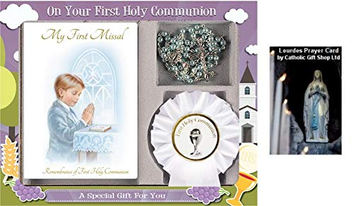 Boys First Holy Communion, Catholic Gift Set - My First Missal Book, Communion Rosary Beads & Rosette (C5202) (C5202)