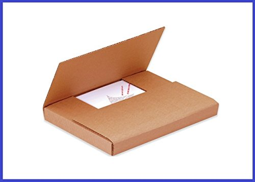 BoxYeah 50 Count - Kraft Multi Depth Media Mailer Bookfold Book Shipping Box - 24 Sizes To Choose - Example (12 1/2 x 12 1/2 x 1) - Kraft Multi Depth Book
