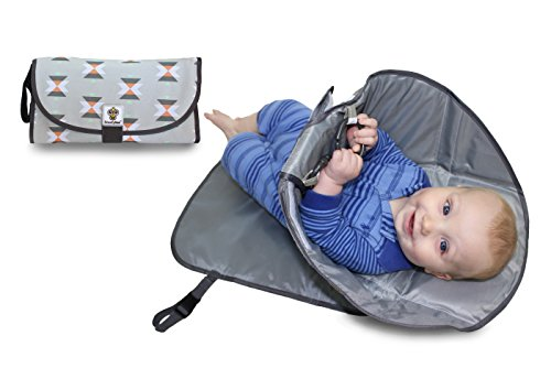 SnoofyBee Portable Clean Hands Changing Pad. 3-in-1 Diaper Clutch, Changing Station, and Diaper-Time Playmat with Redirection Barrier for use with Infants, Babies and Toddlers (Tribal)