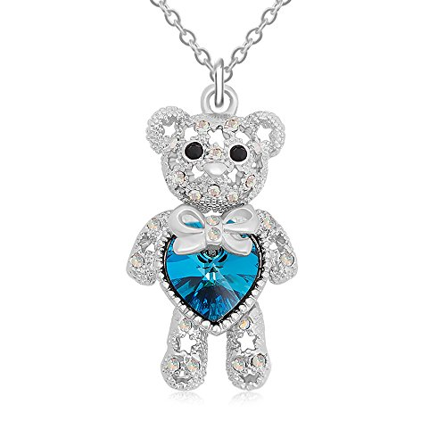 RUXIANG Crystal Cute Teddy Bear Limb-Rotating Pendant Necklace for Women Girls (sliver)