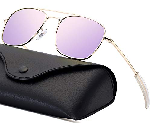 Aviator Sunglasses for Women Polarized Lense Pilot Sun glasses for Men Retro Military Navigator Army Polarized Classic Square Metal Sun Glasses for Women Gold Frame Purple Mirrored ()