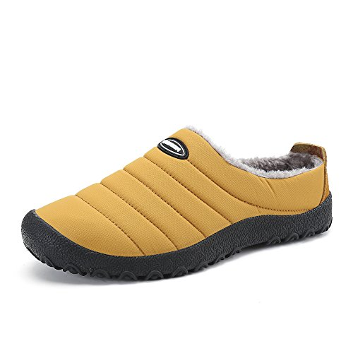Voovix Men Women House Closed Back Slippers Warm Fur Lined Non Slip for Winter Indoor&Outdoor(Mustard,EU39) (Mustard House)