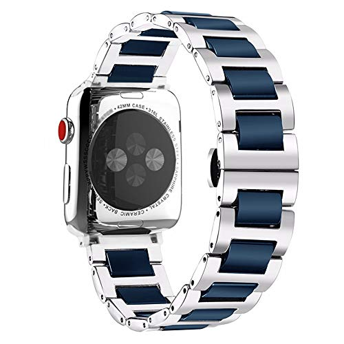 Refinement Blue Ceramic Stainless Steel Watch Band Strap for iWatch Replacement Band Strap 42mm 44mm, Two Tone Bracelet Compatible with Apple Watch Series 4, Series 3, Series 2, Series ()