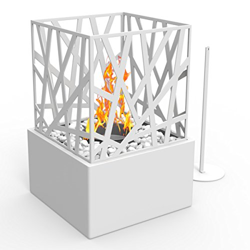 (Regal Flame Bruno Ventless Indoor Outdoor Fire Pit Tabletop Portable Fire Bowl Pot Bio Ethanol Fireplace in White - Realistic Clean Burning like Gel Fireplaces, or Propane Firepits)