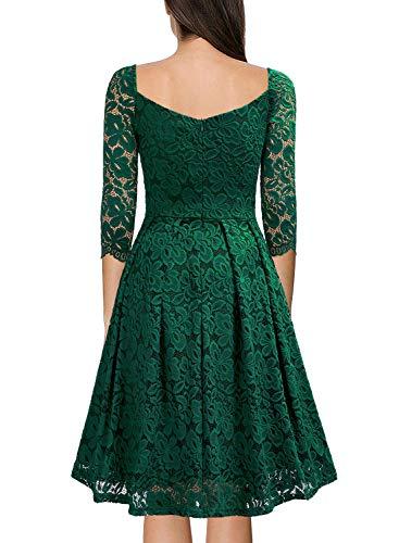 Corta Sera Verde Scuro Pizzo Da Donna Spalla Collo Quadrata Vestito Vintage Una Miusol eDEIYW29H