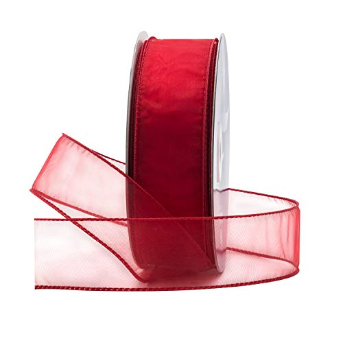 Red Organza Wired Sheer Ribbon 1.5