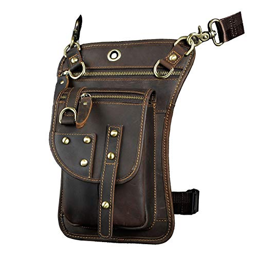 Le'aokuu Mens Genuine Leather Motorcycle Waist Pack Drop Leg Cross Over Bag (The 2141 brown) ()