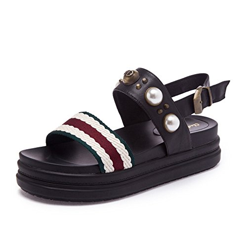 Blanco Pescado Suela de EU Verano Shymamamiya de Negro de Perla de Cuña Zapatos 39 de de Gruesa de 1 Cuña Retro Color Cuero Tamaño Zapatos 3 OOIaqwH