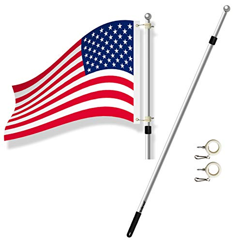 Lavievert 6.5ft Heavy Duty Aluminum Alloy Telescopic Anti-Winding Residential Flag Pole or Commercial Flagpole - Silver