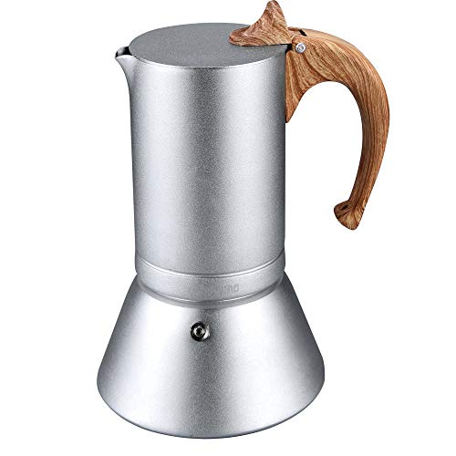 Lonyoung 6 Cups Stovetop Espresso Maker Pot, Italian Espresso Coffee Maker, 12oz Moka Pot Anodized Aluminum