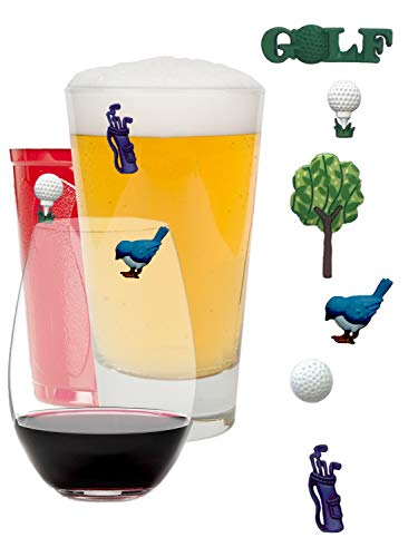 Wine Charms Golf Themed Magnetic Drink Markers on Par as a Great Gift for Golfers - Set of 6 by Simply Charmed