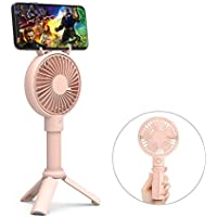 Handheld Fan, GAVAER Mini Portable Fan Rechargeable Battery Operated, Desk Electric Fan for Travel Camping Office Home [Telescopic Handle] [Phone Holder] [3 Speeds] (Pink)