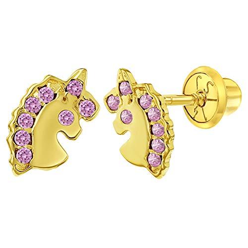 14k Yellow Gold Unicorn Earrings Cubic Zirconia Screw Back Infants Toddler Girls ()