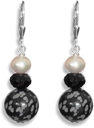 ERCE perlas de agua dulce - obsidiana nevada - ónix/onyx piedras semipreciosas pendientes, plata de ley 925