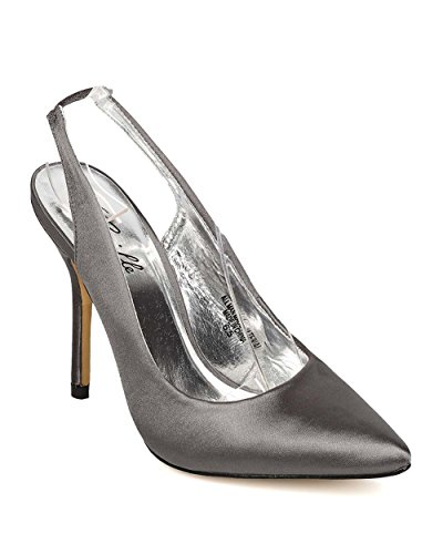 Camille Women Satin Pointy Toe Slingback Stiletto Pump EI10 - Pewter (Size: 8.0)