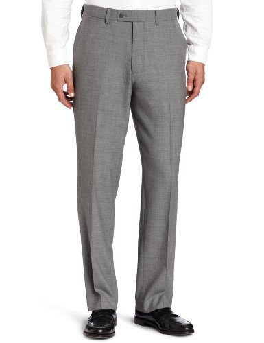 Mens Comfort Stretch Wool Dress - Louis Raphael Men's Total Comfort Stretch Wool Solid Flat Front Dress Pant, Gray, 34x29