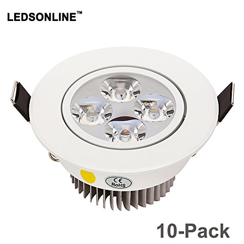 10 PACK 4W (48W replacement) Kitchen Bathroom Cabinet Boat Shop Office White Recessed Lighting Ceiling Spot Lights 2.5 inch Dimmable Pure White 6000K by LEDSONLINE (Image #6)