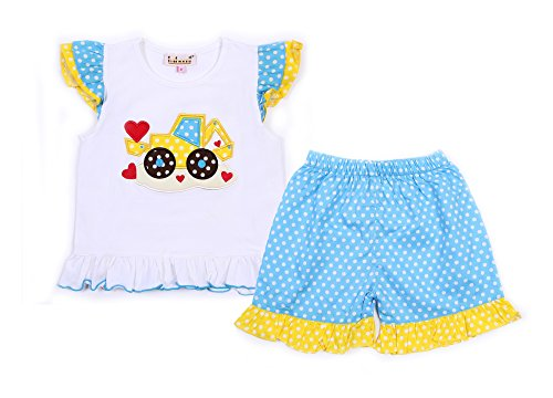 Babeeni Girl Outfit Set Featured With Truck & Heart Applique Pattern On The Chest, Angel Sleeves Top, Ruffles Pants For Valentine (Angel Sleeve Bishop)