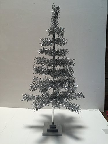 24'' Silver Christmas Tinsel Tree Retro Style Silver Feather Tinsel Tree by Lee Display (Image #3)