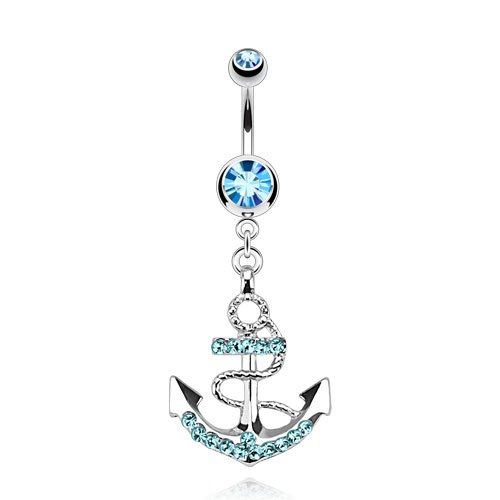 Nautical Anchor Gemmed Belly Ring 316L Surgical Steel 14g Dangle Navel Ring (Aqua)