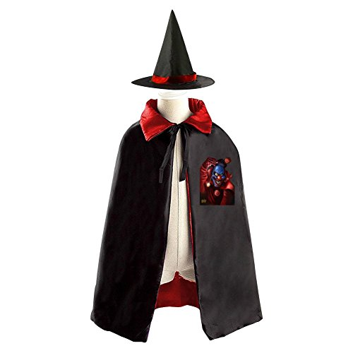 Creepy Clown Halloween Witch Cape Cloak Kids Cosplay Costume Hat Purple