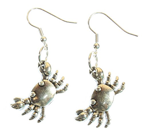 Pewter Dangle Pierced Earrings - ARThouse Little Crab Silvertone Crab Earrings; Dangle 2.0 Inches