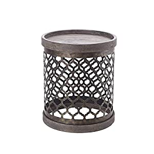 "Madison Park Cirque Accent Metal Side Table Drum Design, Modern Mid-Century Rustic Style Living Room Furniture, 16.13"" x 1"", Grey"