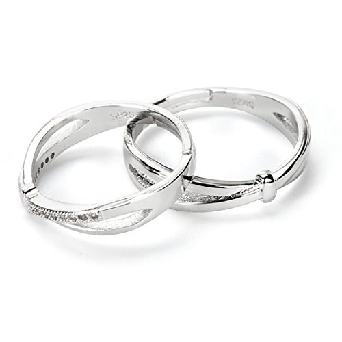 Topaz Jewel Rose - Aniywn Fashion Couples Lovers Concise Chic Interwoven Mixed Love Ring (Free Size, Silver)