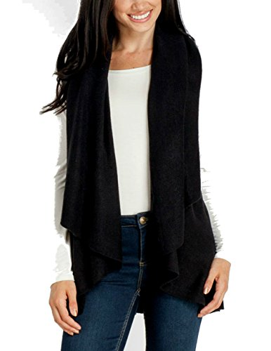 Look By M Womens Draped 4 In 1 Multi Ways Basic Shawl Vest    Black