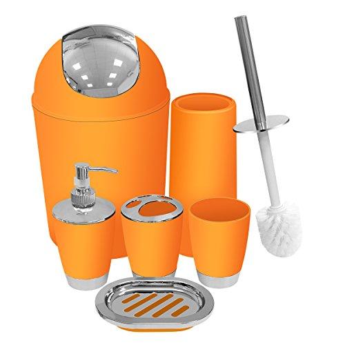 Orange Bathroom Accessories Set 6 Pieces Plastic Bathroom Accessories Toothbrush Holder, Rinse Cup, Soap Dish, Hand Sanitizer Bottle, Waste Bin, Toilet Brush with Holder