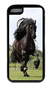 iPhone 5C Case, Personalized Protective Rubber Soft TPU Black Edge Case for iphone 5C - Running Black Horse Cover