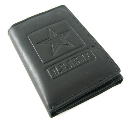 US Army Black Cowhide Leather Trifold Wallet