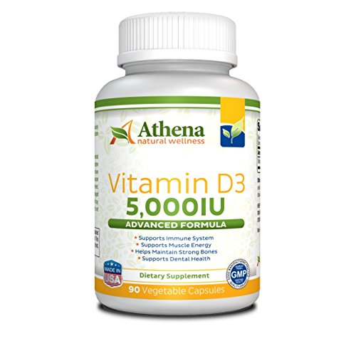 Athena - Vitamin D3 5000IU High Strength - 90 Vegetable Capsules - Supports Immune System, Muscle Energy, Strong Bones and Healthy Dental (Iron 90 Vegetable Capsules)