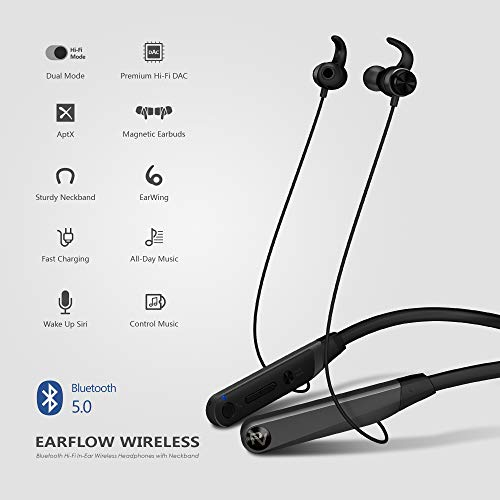 PALOVUE Earflow Wireless in-Ear Headphones with Neckband, Bluetooth V5.0, aptX, Hi-Fi Mode Switch, 12 Hours Playtime, 1.5 Hours Fast Charging, Noise Cancelling Earbuds, w Built-in Mic