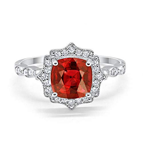 (Blue Apple Co. Halo Art Deco Engagement Ring Cushion Simulated Garnet Round Cubic Zirconia 925 Sterling Silver, Size-5 )