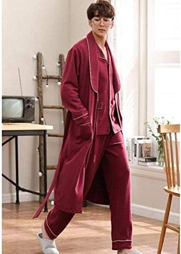 パジャマ男性の家族パジャマ、パジャマメンズコットンローブ長袖パンツルーズバスローブボタン首輪パジャマホームサービス3ピーススーツを設定します。 (Size : XL)