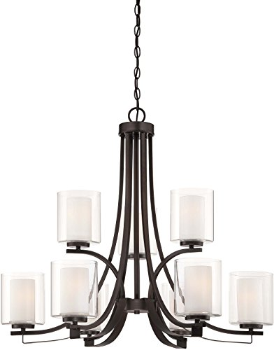 - Minka Lavery 4109-172 Parsons Studio Glass with Shades 2 Tier Chandelier Lighting, 9 Light, 900 Watts, Smoked Iron