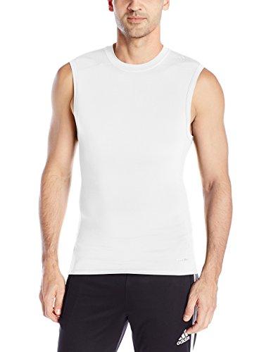 adidas Performance Men's Techfit Base Layer Sleeveless Tee, Large, White (Sleeveless Base)