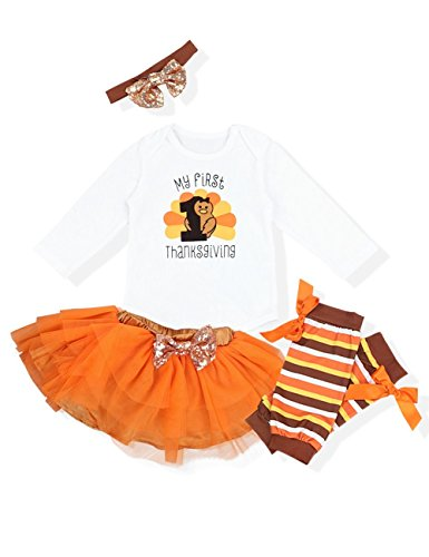 Okgirl Baby Girl My First Thanksgiving Outfits Sets Letter Romper Orange Short Skirt Bodysuit with Headband Clothes Set-90 (6-9M)]()