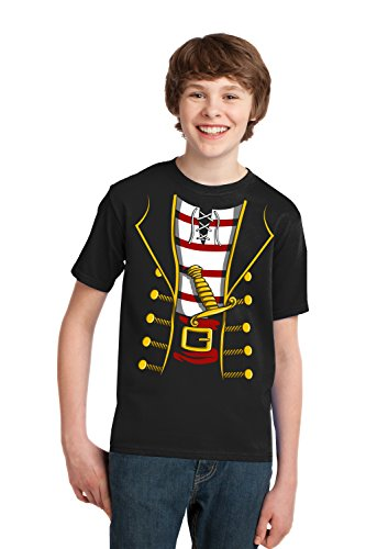 Pirate Buccanneer | Jumbo Print Novelty Halloween Costume Youth T-shirt-Youth,S Black -