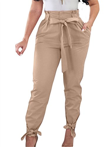 (GOBLES Women Solid Casual Work Trousers High Waist Ruffle Bow Tie Pants Light Tan)