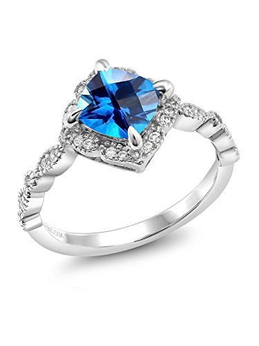 925 Platinum Plated Silver Right-Hand Ring Set Kashmir Blue Topaz from Swarovski (Patron Platinum Price)