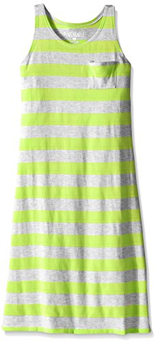 Pink House Little Girls' Racer Back Striped Maxi Dress, Neon Yellow/Heather Grey, M5/6 (Maxi Dress For Girl)