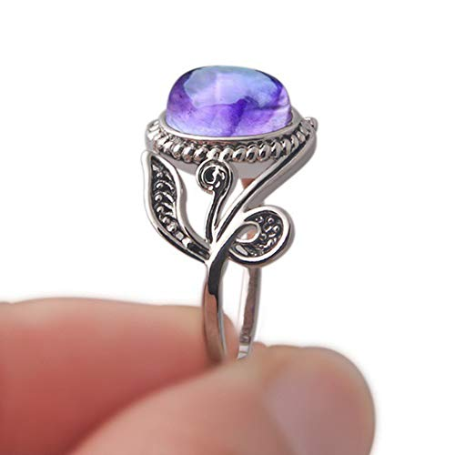 lEIsr00y Antique Lady Purple Rhinestone Carved Leaf Style Finger Ring Party Jewelry Gift - Purple US 10